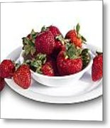 Strawberries In A White Bowl No.0029v1 Metal Print