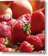 Strawberries With Peaches Metal Print