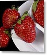 Strawberry Arrangement With A White Bowl No.0036 Metal Print