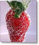 Strawberry In Soda Metal Print by Soultana Koleska
