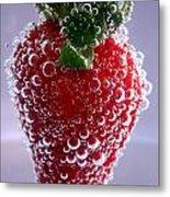 Strawberry In Soda Water Metal Print by Soultana Koleska
