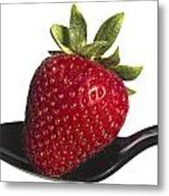 Strawberry On A Black Spoon Against White No.0003 Metal Print