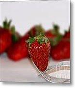 Strawberry On Spoon Metal Print
