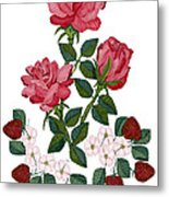 Strawberry Wine And Roses Metal Print
