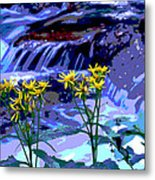 Stream And Flowers Metal Print