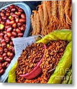 Street Food Snacks In Seoul Metal Print