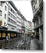 Street In Lucerne With Cycles And Rain Metal Print