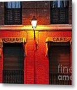 Street Lamp Cafe Metal Print