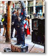 Street Performer In Downtown San Francisco . 7d4246 Metal Print by Wingsdomain Art and Photography