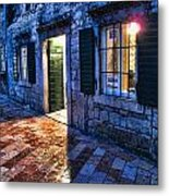 Street Scene In Ancient Kotor Montenegro Metal Print by David Smith