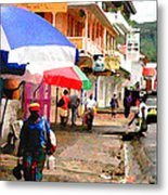 Street Scene In Rosea Dominica Filtered Metal Print