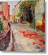 Streets Of Old Cannes Metal Print