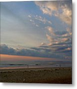Strolling At Sunrise On The Shore Of Maine Metal Print