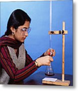 Student Performing Titration Metal Print