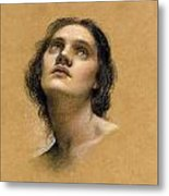 Study Of A Head Metal Print by Evelyn De Morgan
