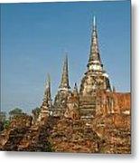 Stupas Chedis Of A Wat In Ayutthaya Metal Print
