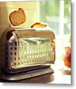 Stylish Chrome Toaster Popping Up Toast Metal Print by Kelly Sillaste