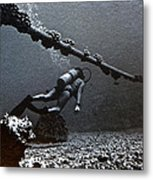 Submarine Telephone Cable And Diver - Hanauma Bay 1973 Metal Print