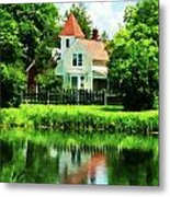 Suburban House With Reflection Metal Print