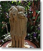 Suffering Circle Ceramic Sculpture Brown Clay  Metal Print