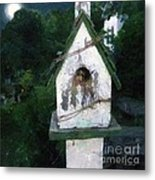 Summer Night With Birdhouse Metal Print