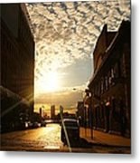 Summer Sunset Over A Cobblestone Street - New York City Metal Print