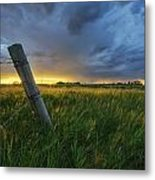 Summer Thunderstorm And Fencepost Metal Print