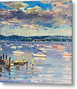 Sun And Clouds In Hudson Metal Print