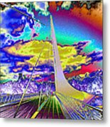 Sun Dial Bridge Redding Ca   Metal Print