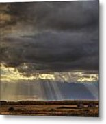Sun Rays Through Clouds Over Three Old Metal Print