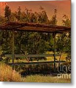 Sun Set Bus Stop Metal Print