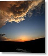 Sun Setting Behind The Horizon In Saskatchewan Metal Print