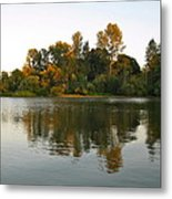 Sun Setting On The Lake Metal Print