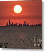 Sun Setting Over Chicago Metal Print