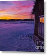 Sun Setting Over Winter Landscape And A Small House Metal Print