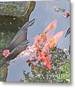 Sun Water Flowers And Fish Metal Print