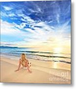 Sunbathing At Sunrise Metal Print