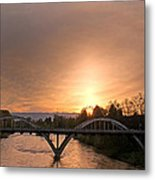 Sunburst Sunset Over Caveman Bridge Metal Print