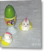 Easter Chicks And Kitties Metal Print