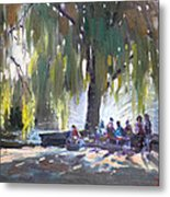 Sunday Afternoon By The Fontain Metal Print
