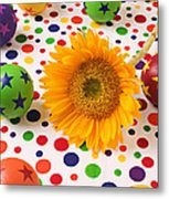 Sunflower And Colorful Balls Metal Print