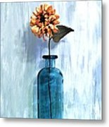 Sunflower In A Beach Bottle Metal Print by Marsha Heiken