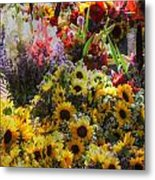 Sunflowers And Glads Metal Print