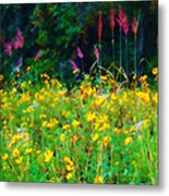 Sunflowers And Grasses Metal Print