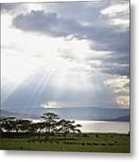Sunlight Shines Down Through The Clouds Metal Print