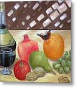 Sunlit Still Life With Butterfly Metal Print