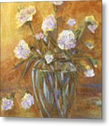 Sunny Carnations In A Vase Metal Print