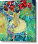 Sunny Impressionistic Rose Flowers Still Life Painting Metal Print