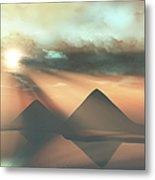 Sunrays Shine Down On Three Pyramids Metal Print