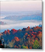 Sunrise And Fog In The Cumberland River Valley Metal Print